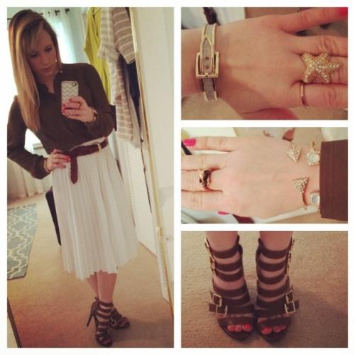 Top: Forever 21, Skirt & Belt: Vintage, Shoes: Target, Jewelry: Charming Charlie & Francesca's