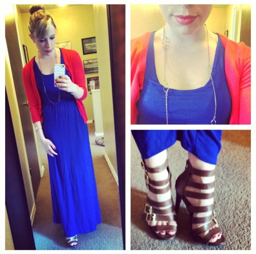 Maxi: Marshall's, Cardi: Old Navy, Shoes: Target, Necklace: F21