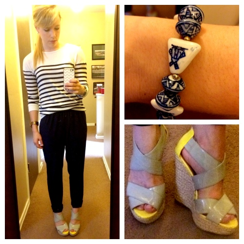 Tee and Pants: Marshall's, Wedges: Target (last summer), Vintage Dutch Glass Bracelet: Stray Dog Antiques