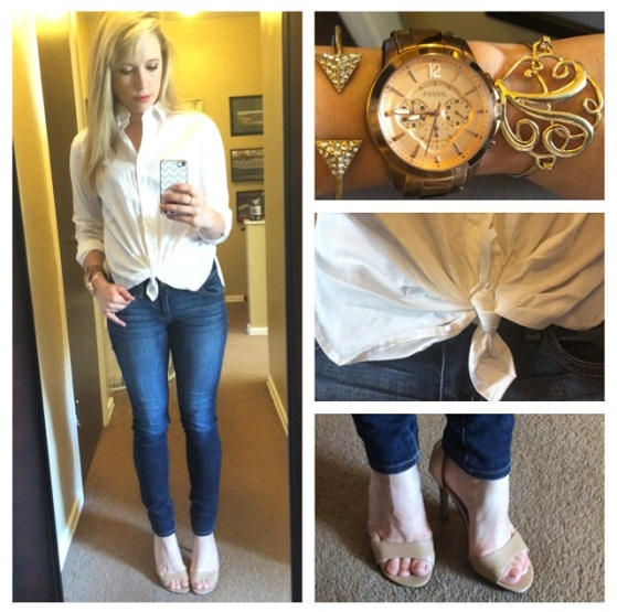 Button-up: Ann Klein found at Gabes, Jeans: American Eagle, Heels: Michael Antonio via DSW, Bracelets: Claire's & Charming Charlie