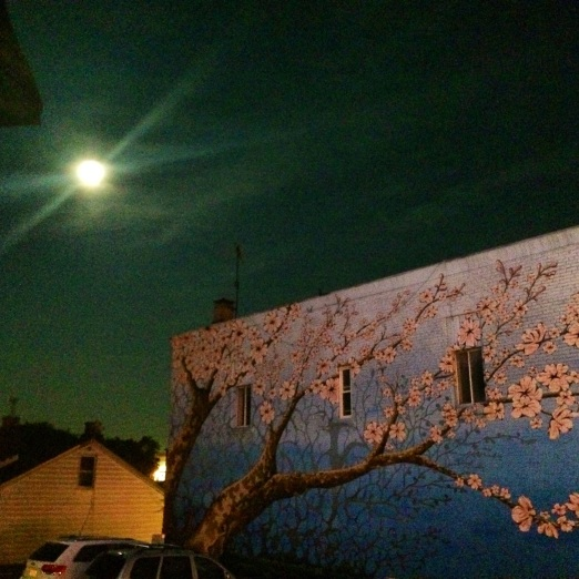 Super moon + cool street art.