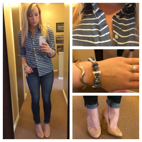 Button-up: Gap, Jeans: American Eagle, Heels: Michael Antonio via 6pm.com, Bracelets: Gold - F21, Blue and white - vintage dutch glass