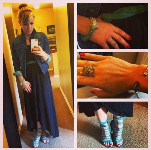 Dress & Jacket: Old Navy (jacket last summer), Shoes: JustFab, Belt: Target, Elephant Bracelet: Target,