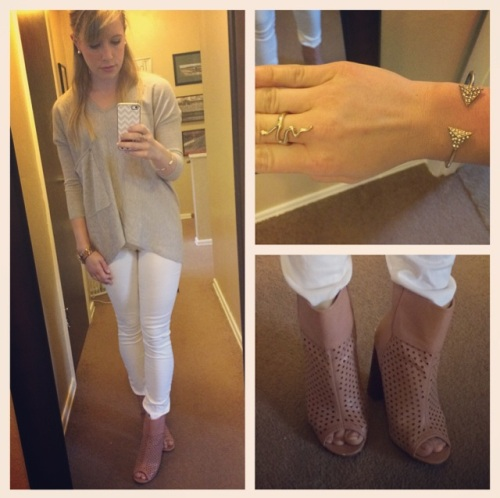 Sweater: Marshall's, Jeans: Gap, Booties: Shoe Dazzle, Snake Ring: ? Bracelet: Claire's