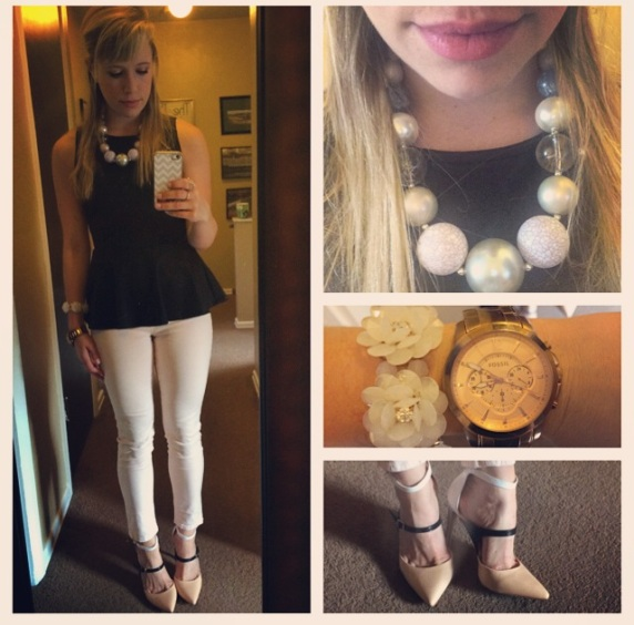 Top: I think Marshall's, Jeans: JBrand found at Gabes!, Pumps: ShoeDazzle, Necklace: Burlington, Flower Bracelet: Francesca's