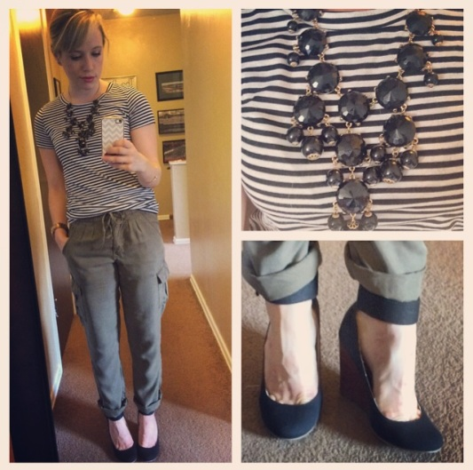 Tee: Target, Cargo Pants: Marshall's ($10!), Wedges: Mix No6 via DSW, Necklace: Charlotte Russe