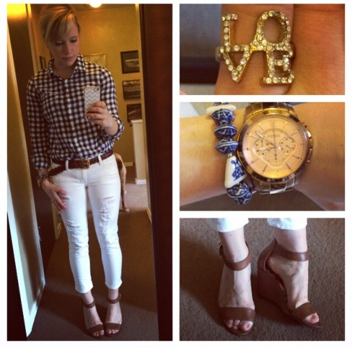 Button-up: J.Crew Factory, Jeans: American Eagle, Belt: Vintage (thanks mom!), Wedges: Payless, LOVE Ring: Francesca's