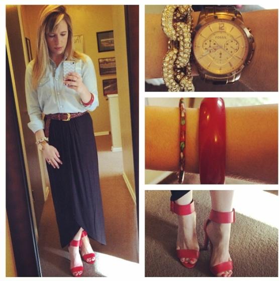Chambray: Gap, Belt: Vintage, Maxi Skirt: Gabes, Heels: Charlotte Russe, Pave Bracelet: Target, Red bangles: vintage