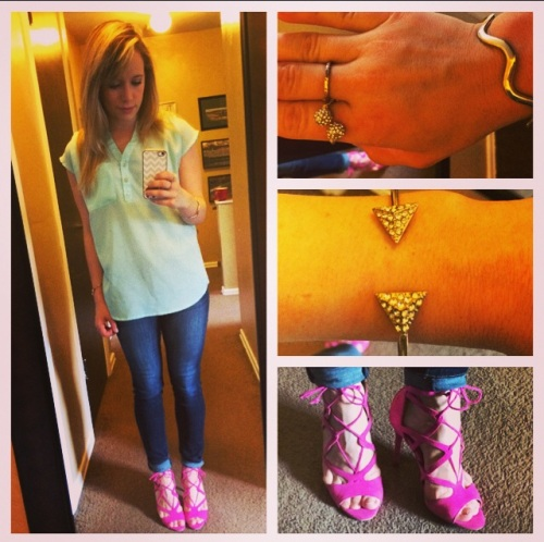 Top: NY&Co, Jeans: American Eagle, Heels: JustFab, Bracelets: F21 & Claire's, Ring: Target