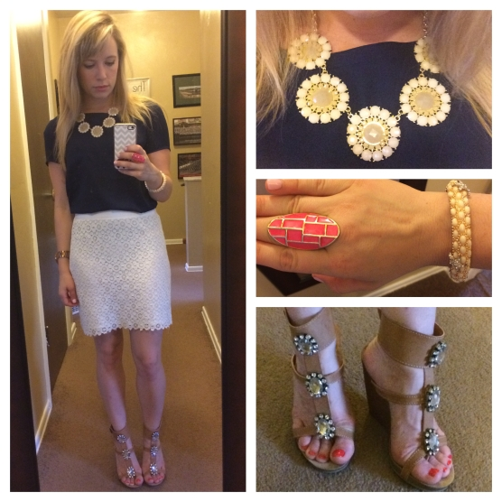 Top: Marshall's, Skirt, Forever 21, Shoes: Shoe Dazzle, Necklace: Gabes, Ring: Francesca's, Bracelet: Eastern Market find in DC