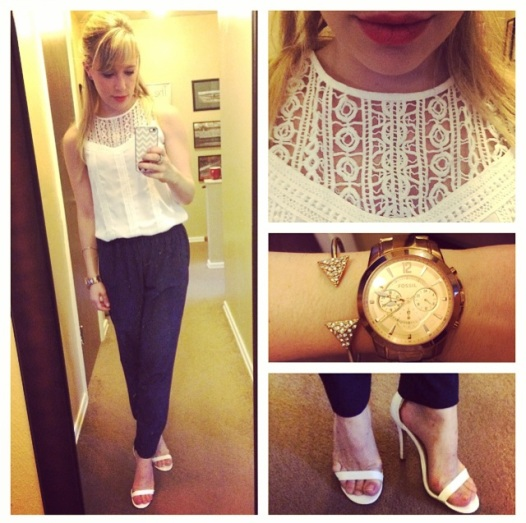 Lace top: Target, Harem Pants: Marshall's, Heels: Windsor Store