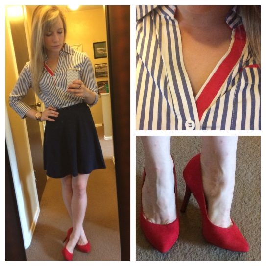 Top: Marshall's (? - I've had it since high school), Skirt: F21, Pumps: Jessica Simpson via 6pm.com, Watch: Fossil