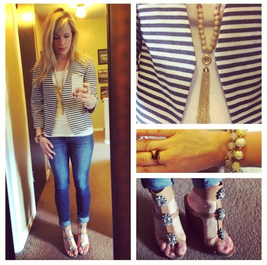 Blazer & Necklace: Marshall's, Tank: Gap Outlet, Jeans: American Eagle, Shoes: ShoeDazzle, Bracelets: Charlotte Russe & Francesca's
