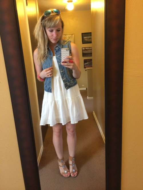 Vest: Levi's via Macy's, Dress: Marshall's, Wedges: Shoedazzle