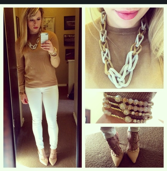 Sweater: Gap (last year) Jeans: Gao (clearance rack $10 - holla!), Rockstud pumps: GoJane, Necklace: Charlie Boutique, Bracelet: Francesca's