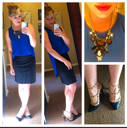 Necklace & Top: Target (top was $5!), Skirt: Banana Republic Factory, Rockstuds: Gabes