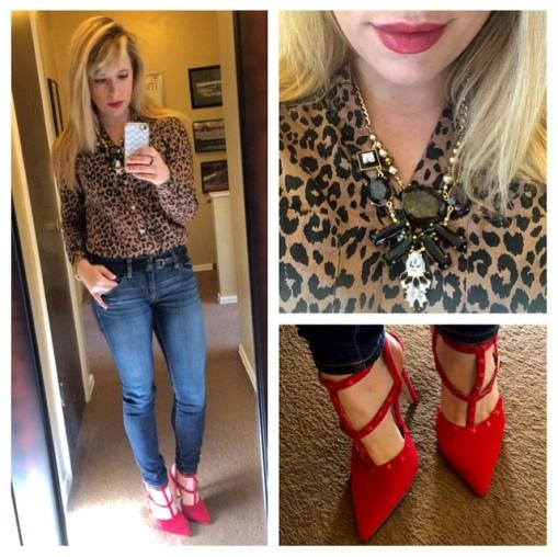 Top: Forever 21, Necklace: Target, Jeans: American Eagle, Heels: GoJane