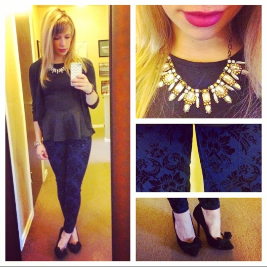 Peplum top & Skinny Jeans: Marshall's (purchased approx. 1yr. apart), Carigan: Old Navy, Necklace: Target, Pumps: Betsy Johnson via Marshall's