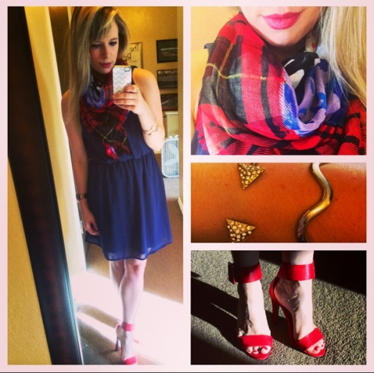 Scarf: TJ Maxx, Dress: Elder Beerman (old), Shoes: Charlotte Russe, Bracelets: Claire's & F21