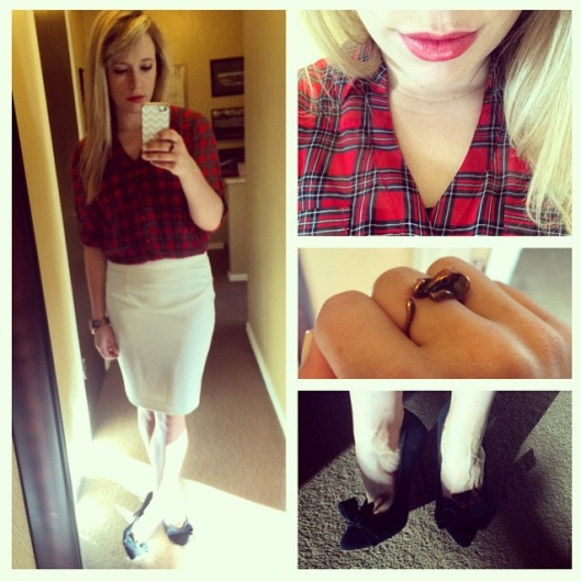 Top: Express via Gabes, Skirt: F21, Pumps: Betsey Johnson via Marshall's, Elephant ring: Etsy