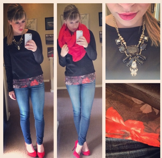 Sweater: Gabes, Jeans: American Eagle, Heels: Jessica Simpson via 6pm.com, Scarf: Marshall's, Necklace: Target