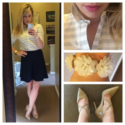 Button-up: Old Navy, Skirt: F21, Pumps: Jessica Simpson via 6pm.com, Bracelet: Francesca's