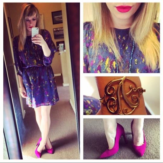 Dress: Tegan via Gabes, Pumps: JustFab, Necklace: F21, Bracelet: Charming Charlie