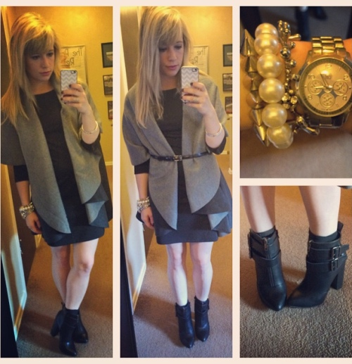 Cape/Blanket Scarf: Steve Madden, Dress: Old Navy, Booties: JustFab