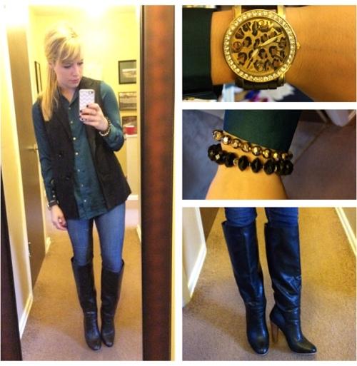 Top: H&M, Vest: Target, Jeans: American Eagle, Boots: Lulu's, Watch: Francesca's