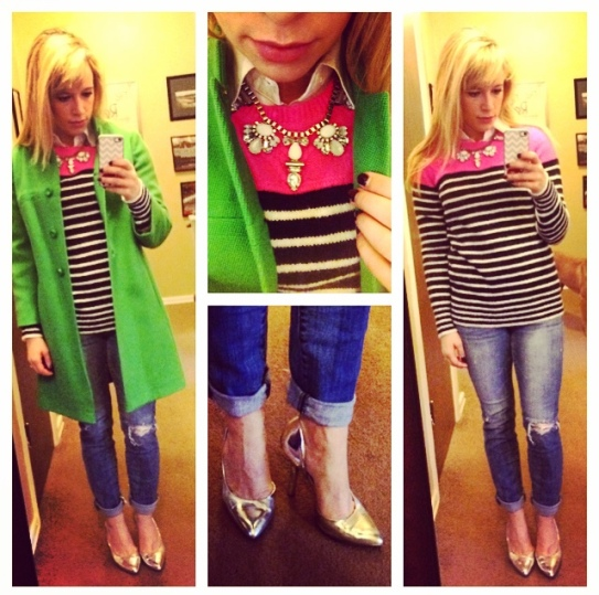 Coat: Vintage, Sweater: Gap, Button-up: NY&Co, Jeans: American Eagle, Pumps: BCBG via DSW, Necklace: Express