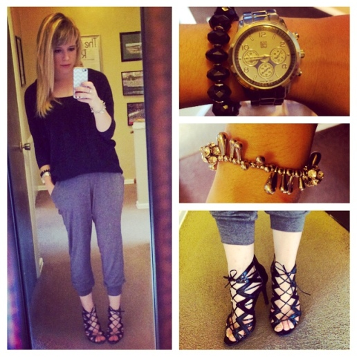 Sweater: Express (via Gabes), Joggers: Old Navy, Strappy heels: Prabal Garung for Target, Watch: NY&Co, Bracelets: Francesca's