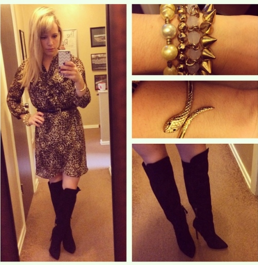 Dress & Boots: Forever 21 (dress is several years old, boots are last fall), Bracelets: Francesca's, Charlotte Russe