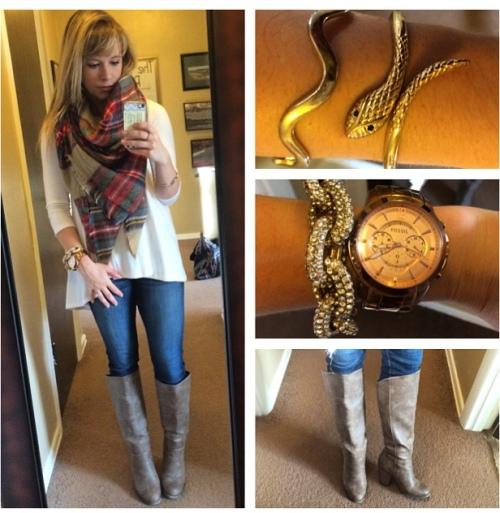 Top: Gabes, Jeans: American Eagle, Boots: F21, Scarf: Zara, Watch: Fossil, Bracelets: F21, Francesca's, Target