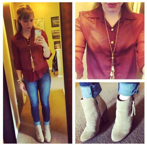 Top: Elder Beerman (I think? Old), Jeans: American Eagle, Booties: Calvin Klein via DSW, Necklace: Target