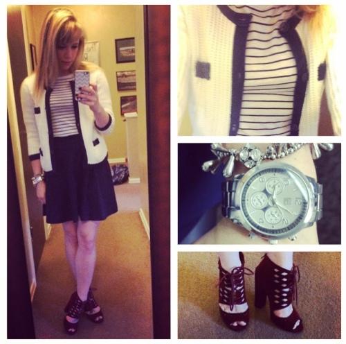 Cardigan: Old Navy, Striped boat tee & skater skirt: Forever 21, Oxblood heels: UrbanOG, Bracelets: Francesca's