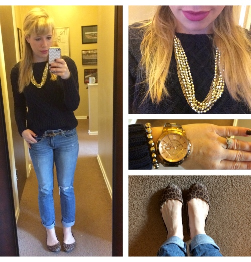 Cable Knit Sweater: Gap (last year), Bf Jeans: American Eagle, Necklace: Burlington, Belt: H&M, Flats: Payless, Bracelet: Charlotte Russe, Watch: Fossil