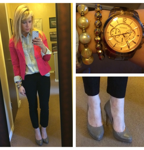 Blazer: F21, Chambray & Dress Pants: Gap, Pumps: Nine West via TJ Maxx