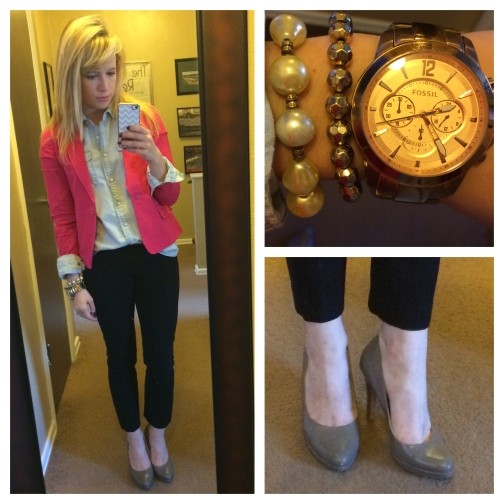 Blazer: F21, Chambray & Dress Pants: Gap, Pumps: Nine West via TJ Maxx