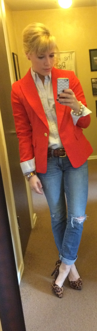 Blazer: F21, Button-up: Ralph Lauren, Jeans, AE, Belt: Vintage, Pumps: GoJane