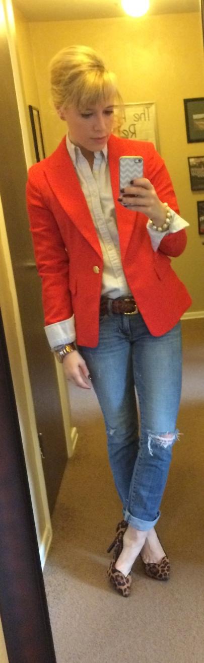 Blazer: F21, Button-up: Ralph Lauren, Jeans, AE, Belt: Vintage, Pumps: GoJane