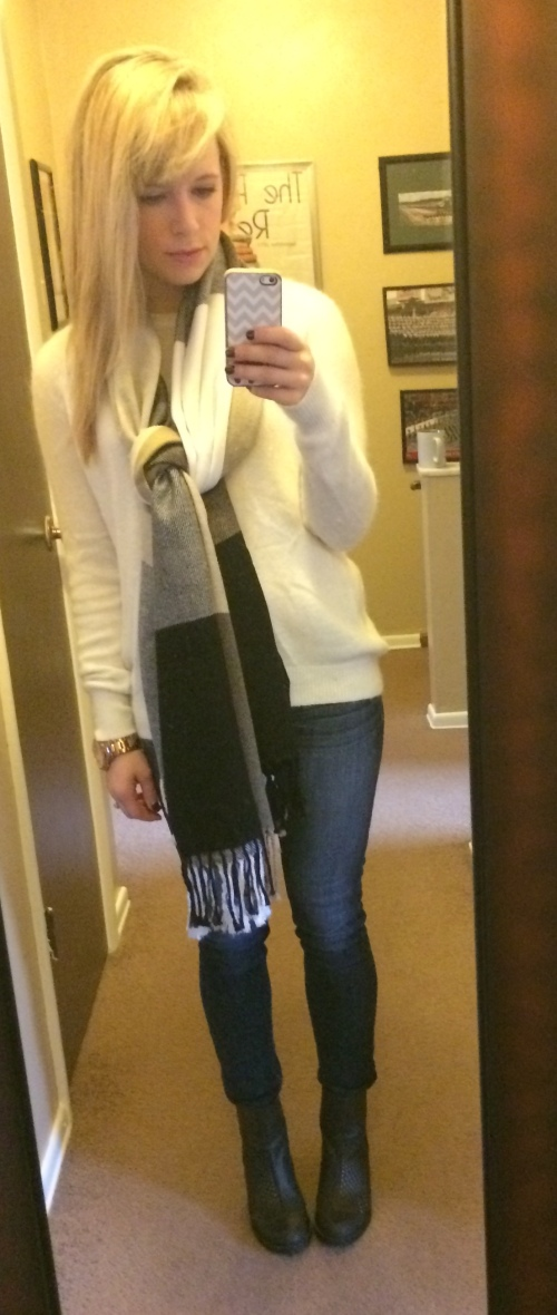 Sweater: H&M, Scarf: Marshall's, Jeans: American Eagle, Booties: DSW