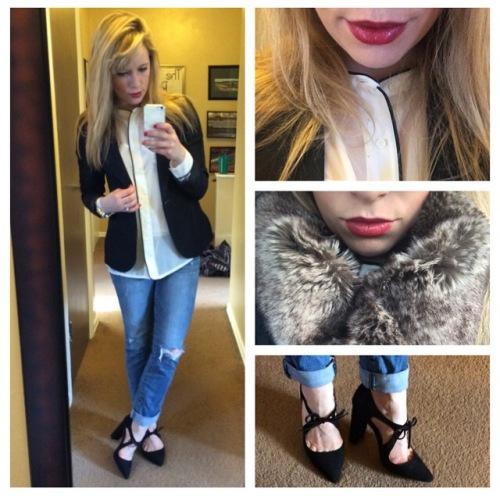 Blazer: Gabes, TopL JcPenny, Jeans: American Eagle, Pumps: Shoedazzle, Faux fur snood: Gap Outlet, Lips: NYX Matte 'Perfect Red'