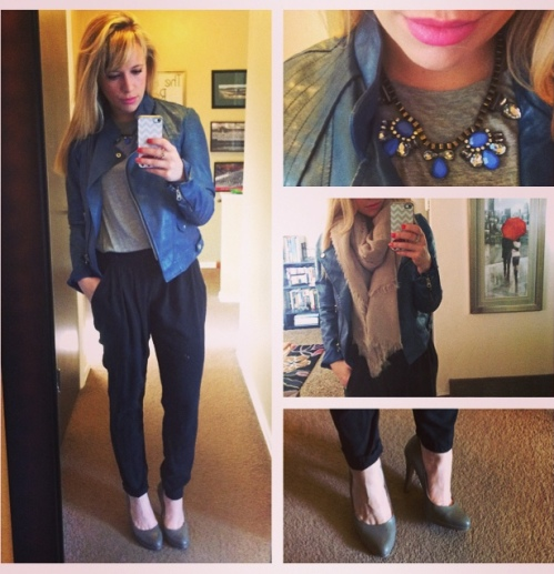 Jacket & Harem Pants: Gabes, Top: Marshall's, Necklace: Express, Scarf: F21, Pumps: Nine West via TJ Maxx, Lips: NYX Matte in 'Summer Breeze'
