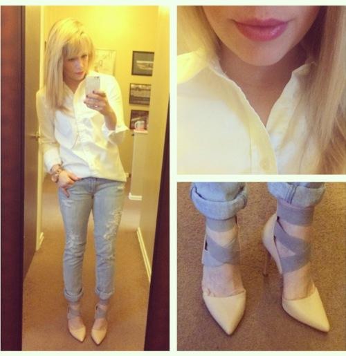 Boyfriend button-up: Gap, Jeans: American Eagle, Pumps: ShoeDazzle, Lips: Jordana Lip Shine in 'Candied Coral'