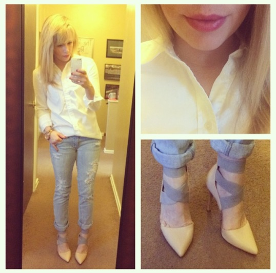 Boyfriend button-up: Gap, Jeans: American Eagle, Pumps: ShoeDazzle, Lips: Jordana Lip Shine in 'Candied Coral'