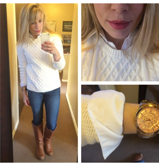 Sweater: Gap Outlet, Button-up: NY&Co, Jeans: American Eagle, Riding Boots: Target, Watch: Fossil