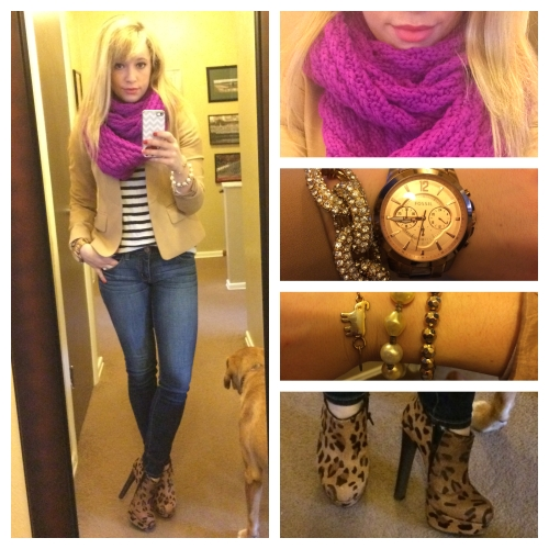 Infinity Scarf: Gap, Blazer: Jones NY via Gabes, Sweater: Marshalls, Jeans: American Eagle, Booties: Steve Madden via Gabes