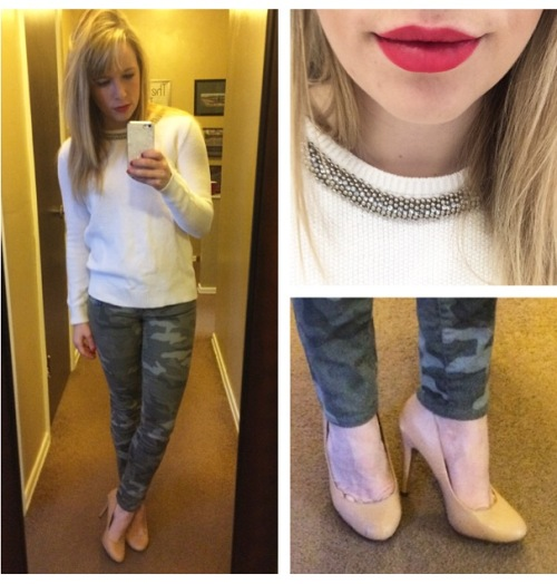 Sweater: F21, Jeans: Gap, Pumps: Michael Antonio via 6pm.com, Lips: NYX Matte Lip Cream in 'Amsterdam'