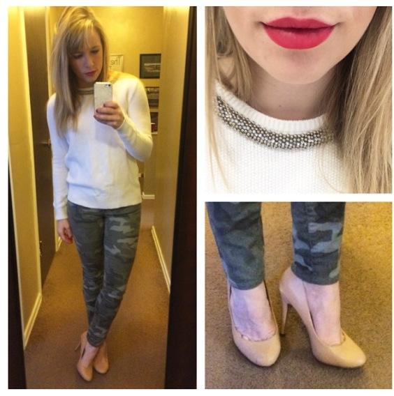 Sweater: F21, Jeans: Gap, Pumps: Michael Antonio via 6pm.com, Lips: NYX Matte Lip Cream in 'Amsterdam'