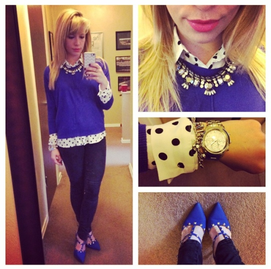 Sweater: Target (several years ago), Polka-Dot button up: F21, Jeans: Target, Rockstuds: GoJane, Necklace: Express, Lips: Revlon 'Persian Melon'